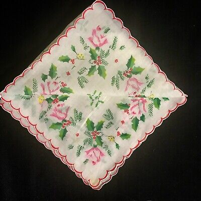 "Old Vintage Printed Christmas Pattern Handkerchief 13""SQ Scalloped Edges"