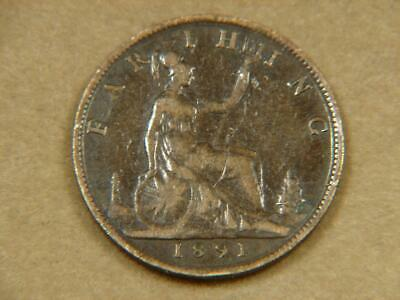1891 Great Britain Farthing Coin