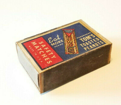 Vintage Eat More TOM'S TOASTED PEANUTS Box Strike SAFETY MATCHES Matchbox