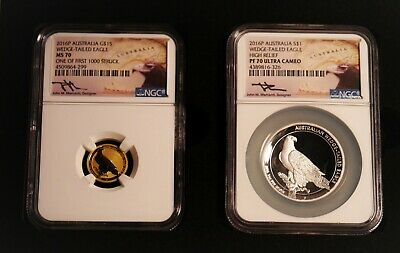 2016P Australia Gold $15 and Silver $1 Wedge Tailed Eagle Set NGC Mercanti Label