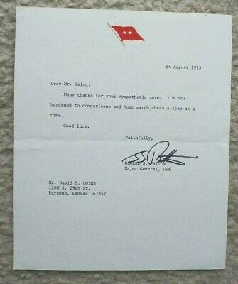 GEORGE S PATTON IV, Major General. Signed personal letter (1975)
