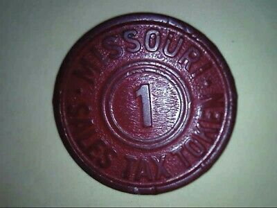 VINTAGE MISSOURI # 1 RED PLASTIC SALES TAX TOKEN (Free S&H US only)