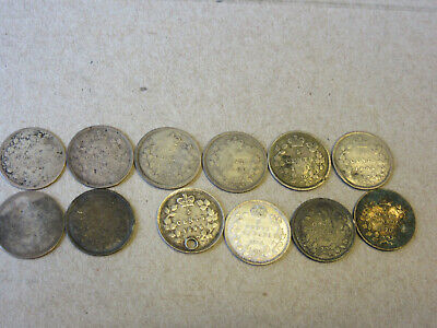12 Silver 5 Cent Coins from Canada 1871-1920
