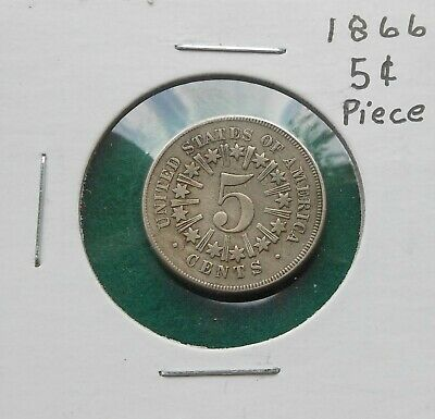 1866 Shield Nickel With Rays & Stars  5 Cents, Uncertified