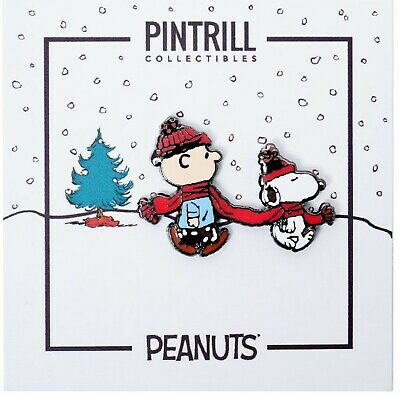 PINTRILL X PEANUTS - Charlie Brown & Snoopy Winter Scarf Pin NEW!