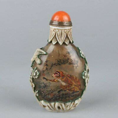 Chinese Exquisite Handmade Inner painting Glass snuff bottle