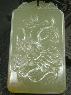 Chinese Antique Celadon Nephrite Hetian-OLD Jade Dragon statues/Pendant