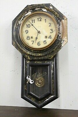 Antique TAKANO Japanese Wall Clock 8 day with Pendalum & Key for parts repair