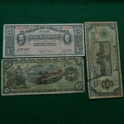 3 Mexico Revolution Notes 5 Pesos Diferent Types F-Vf