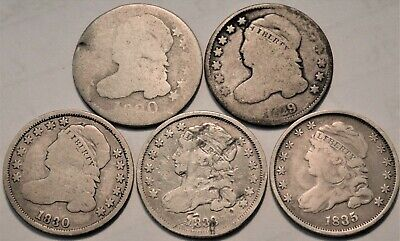 Lot of (5) Capped Bust Dimes 1829 1830 1833 1835, Better Type Coins Silver 10C