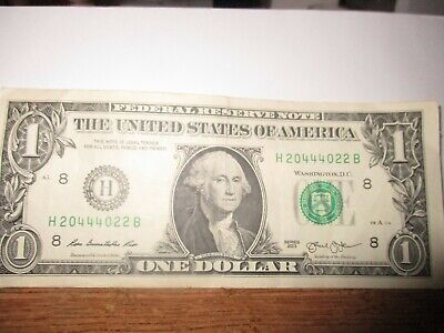 2013 $1 One Dollar Note RARE Bill Fancy Low Serial Number 20444022