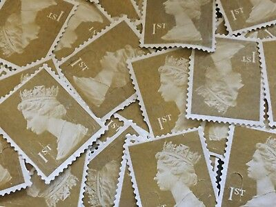 100x Gold 1st Class Unfranked Off Paper No Gum Postage Stamps