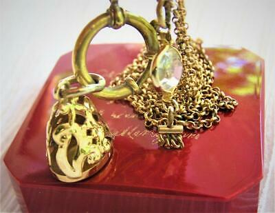Antique Victorian Gold GF Seal Fob Crystal Tassel Charm Watch Chain Necklace