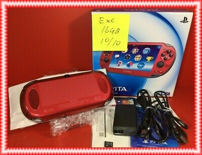 Sony PS VITA ZA03 Red PCH-1000 OLED 16GB charger adapter beautiful