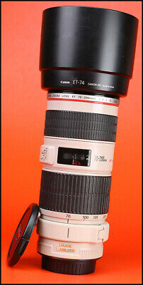 Canon EF 70-200mm Image Stabilizer F4 L IS USM Zoom Lens + F/R Lens Caps & Hood