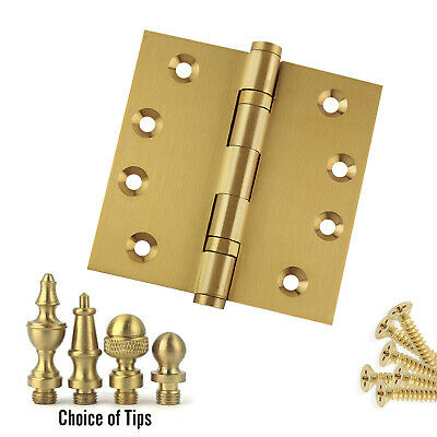 Door Hinge 4.5 x 4.5 Solid Brass Satin Brass Architect Grade with Tips