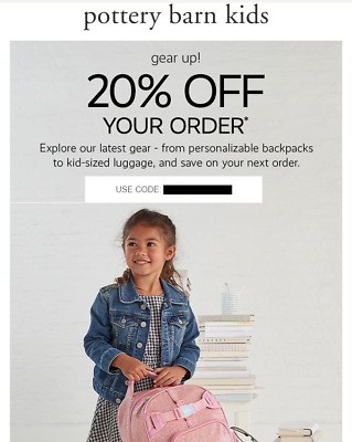 20% Off POTTERY BARN KIDS Entire Purchase Order (exp. 5/31/20) (not 15% not 10%)