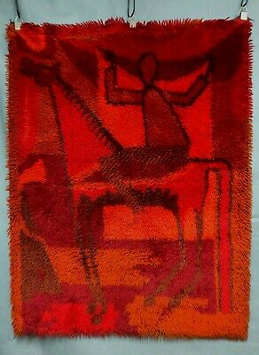 MID CENTURY EGE RYA RUG TAPESTRY VERY GOOD CONDITION 48X36.75 inches