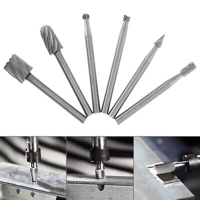 6pcs/set Rotary Rasp High Speed Steel Woodworking Tools Rotary Files  3mm Shank