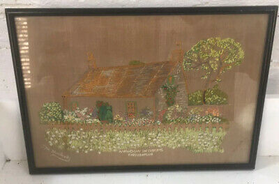 Pretty Vintage Hand Embroidered Picture Framed Irish Country Cottage & Gardens