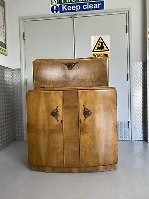 Rivington Art Deco Mid Century Figured Burr Walnut Vintage Cocktail Cabinet
