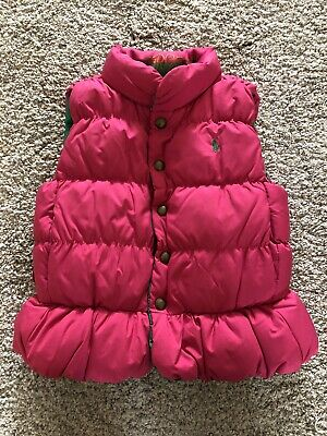 Ralph Lauren Pink And Green Reversible Gilet Age 4 In Good Condition