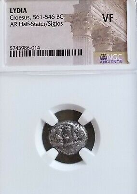 Lydia, Croesus 1/2 Stater Lion vs Bull Siglos NGC VF Ancient Silver Coin