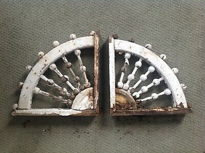 Victorian Antique Wooden Stick And Ball Corbel Pair With Chippy White Paint #2
