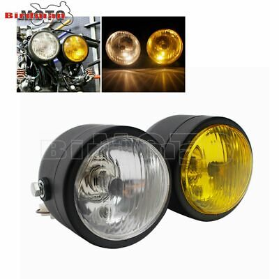 Universal Twin Headlight Motorcycle Double Dual Lamp Street Fighter 12V Black