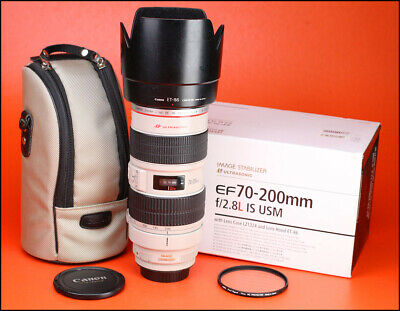 Canon EF 70-200mm F2.8 L IS USM Telephoto Zoom Lens + Box, F/R Caps, Hood & Case
