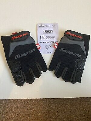 Snap On Large Grey/Black M-Pact Fingerless Work Gloves GLOVE800XLXX