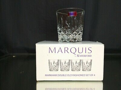 NEW! 4x Double Old Fashioned Glasses Waterford Markham Scotch Whiskey Crystal