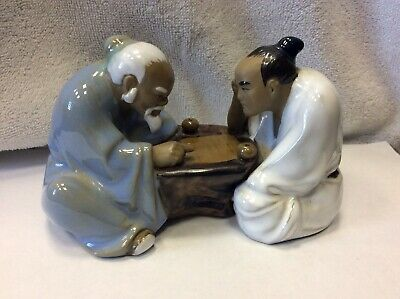 Vintage Ceramic Chinese Figurine. Chinese Men Playing Game.