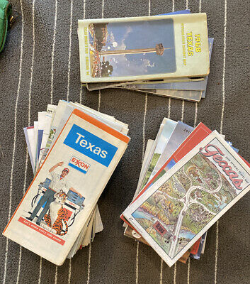 LOT OF 48 VINTAGE FOLDING ROAD US MAPS,TEXAS,ARKANSAS,LOUISIANA, Austin Gas