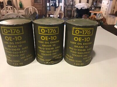 Two Cans Of O-176 Texaco Military Lube Oil