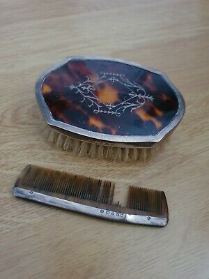 Tortoiseshell And Silver Brush And Comb