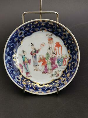 Chinese Famille Rose polychrome Saucer Dish court scenes