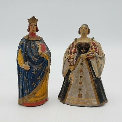 Antique Pair of Polychome Painted Wood Figures King Charles V and Queen