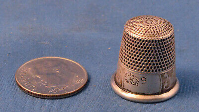 Antique Waite Thresher Co. Sterling Silverr Size 9 Thimble