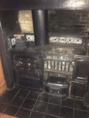 Antique Victorian Fire Cast Iron Range  Cooking Stove with Original tiles