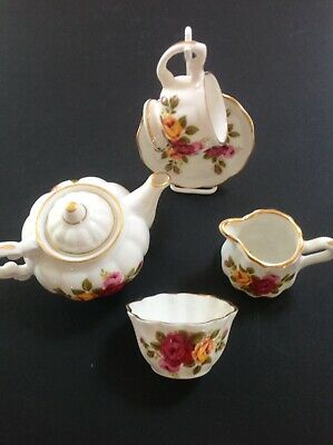 Mary Jane China 'Rose' Pattern Miniature Tea Set Trio with Stand.