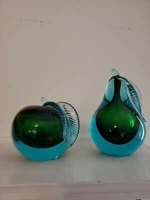 Mid Century Venetian Murano Italian Art Glass Apple & Pear Bookends Sculptures