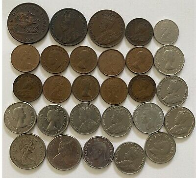28 Canadian coins 1 cent, 5 cent, 10 cent, 25 cent & 1852 one half penny token