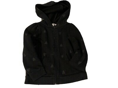 Girls Black Heart Hoodie Age 2-4 From H&M
