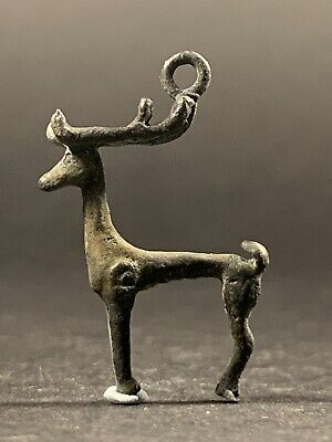 Ancient Viking Norse Bronze Amulet Depicting Detailed Stag - Circa.800Ad