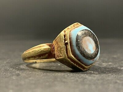 Intact-Phoenician Bronze & Gilded Decorated Ring With Coloured Stone Ca 300 Bc