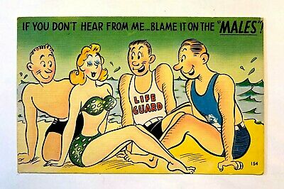 "Vintage 1930-40's Comic ""If YOU Don't HEAR From Me~Blame It On The MALES"" PC 527"