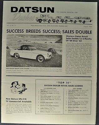 1964 Datsun Dashes Dealer Newletter SPL310 Sport Roadster Pickup Patrol Original