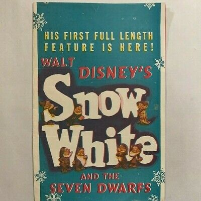 Walt Disney's Snow White Rare & Htf Original Program Flyer 1938'