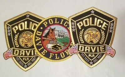 Davie (FL) Police Department Patches - LOT of 3 w/ Presentation Card